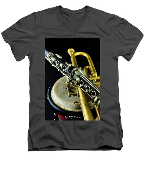 Men's V-Neck T-Shirt featuring the photograph Jazz by Elf Evans
