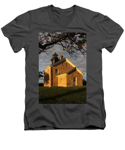 Lighthouse Old Field Point New York Men's V-Neck T-Shirt by Bob Savage