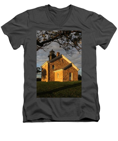 Lighthouse Old Field Point New York Men's V-Neck T-Shirt