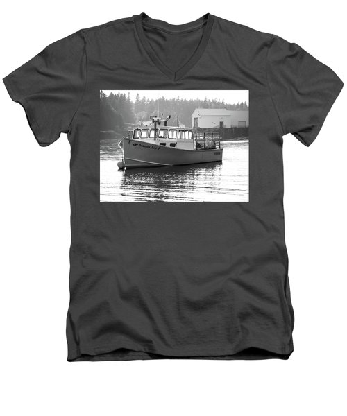 Men's V-Neck T-Shirt featuring the photograph Lobster Boat by Trace Kittrell