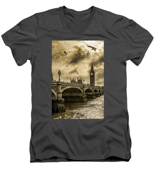 London Men's V-Neck T-Shirt by Jaroslaw Grudzinski
