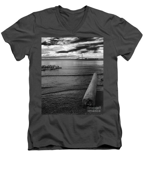 Mackinac Bridge - Infrared 01 Men's V-Neck T-Shirt