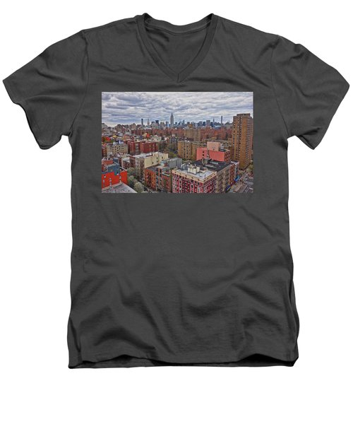 Manhattan Landscape Men's V-Neck T-Shirt by Joan Reese