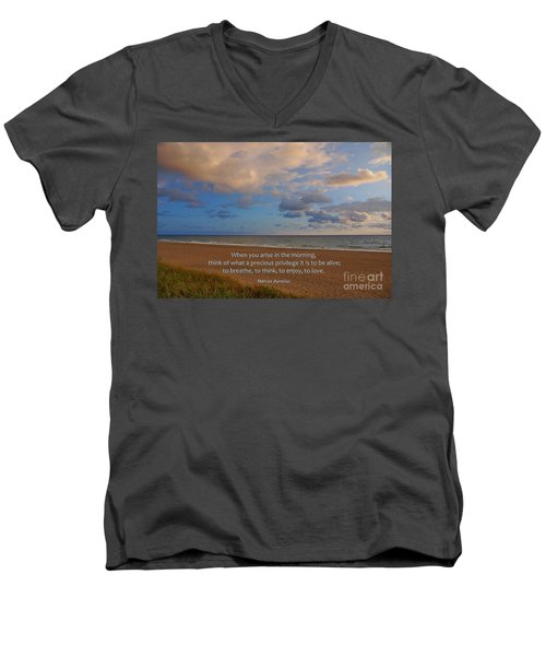 2- Marcus Aurelius Men's V-Neck T-Shirt by Joseph Keane