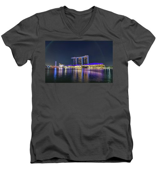 Marina Bay Sands And The Artscience Museum In Singapore Men's V-Neck T-Shirt