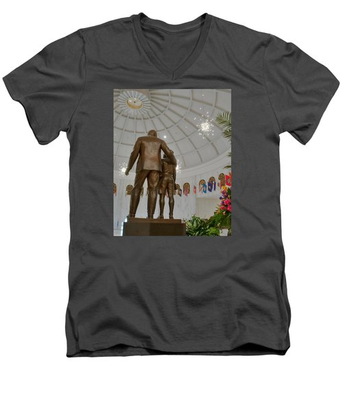 Men's V-Neck T-Shirt featuring the photograph Milton Hershey And The Boy by Mark Dodd