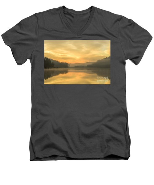 Misty Morning On The Lake Men's V-Neck T-Shirt