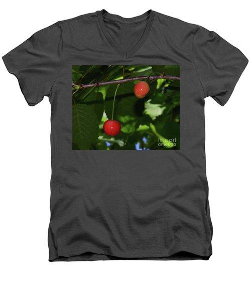 Men's V-Neck T-Shirt featuring the photograph My Cherry by Elvira Ladocki