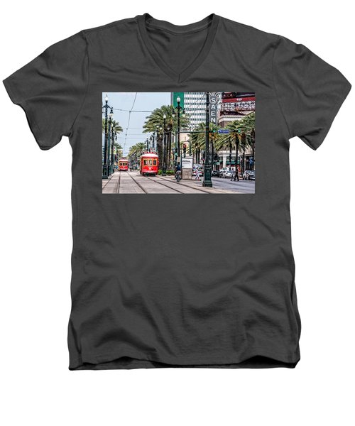 Men's V-Neck T-Shirt featuring the photograph New Orleans Canal Street Streetcars by Andy Crawford