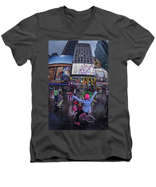 Men's V-Neck T-Shirt featuring the photograph New York Soho  by Juergen Held
