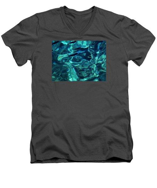 Men's V-Neck T-Shirt featuring the photograph Ocean Water Santorini Greece  by Colette V Hera  Guggenheim