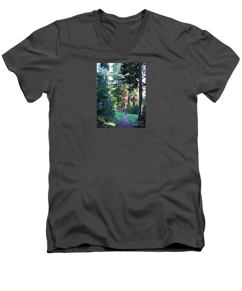 On A Hike Men's V-Neck T-Shirt by Michele Penner