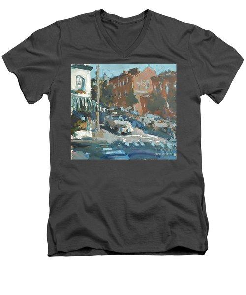 Men's V-Neck T-Shirt featuring the painting Original Contemporary Urban Painting Featuring Richmond Virginia by Robert Joyner