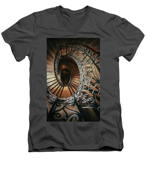 Men's V-Neck T-Shirt featuring the photograph Ornamented Spiral Staircase by Jaroslaw Blaminsky