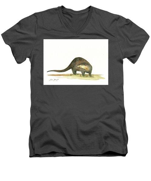 Otter Men's V-Neck T-Shirt by Juan Bosco