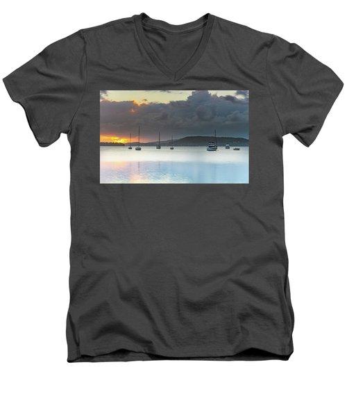 Overcast Sunrise Waterscape Men's V-Neck T-Shirt