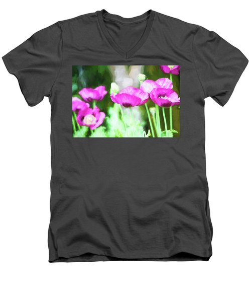Men's V-Neck T-Shirt featuring the painting Poppies by Bonnie Bruno
