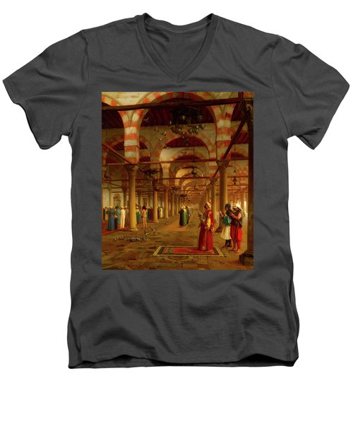 Men's V-Neck T-Shirt featuring the painting Prayer In The Mosque by Jean-Leon Gerome