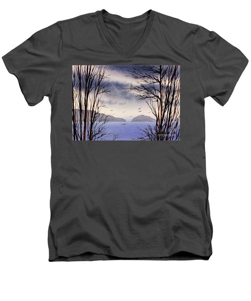 Men's V-Neck T-Shirt featuring the painting Quiet Shore by James Williamson