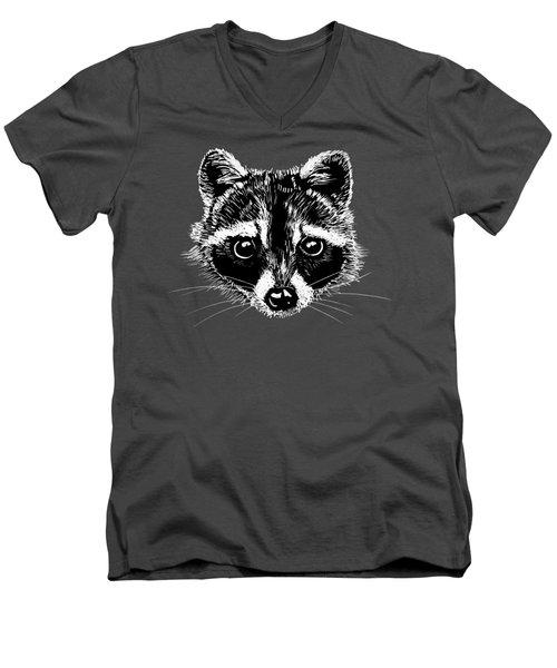 Raccoon Men's V-Neck T-Shirt by Masha Batkova