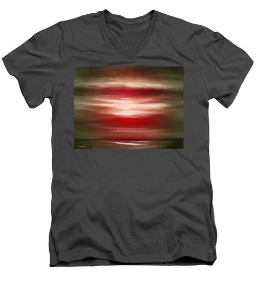 Red Abstract Sunset Men's V-Neck T-Shirt
