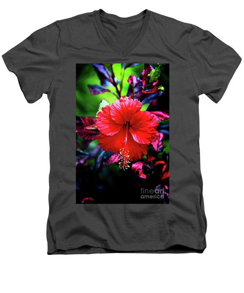 Red Hibiscus 2 Men's V-Neck T-Shirt by Inspirational Photo Creations Audrey Woods