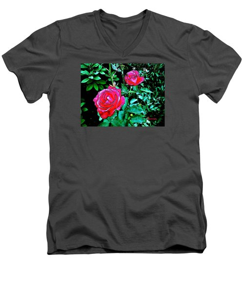 Men's V-Neck T-Shirt featuring the photograph 2 Red Roses by Sadie Reneau