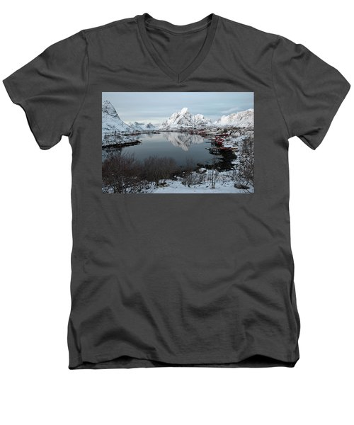 Men's V-Neck T-Shirt featuring the photograph Reine, Lofoten 4 by Dubi Roman