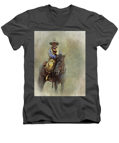 Men's V-Neck T-Shirt featuring the photograph Ride Em Cowboy by David and Carol Kelly