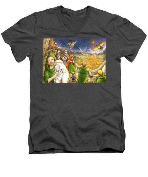 Robin Hood And Matilda Men's V-Neck T-Shirt by Reynold Jay