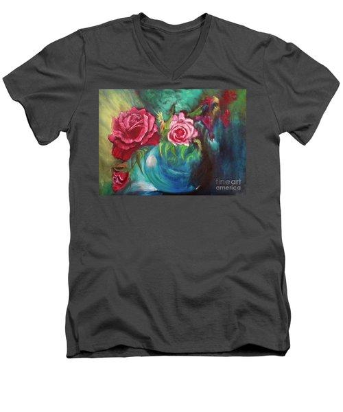 Roses One Of A Kind Handmade Men's V-Neck T-Shirt