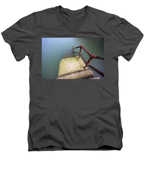 Rusty Handrail Going Down On Water Men's V-Neck T-Shirt