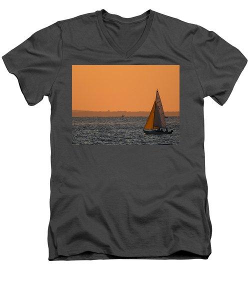 Sailboat Mount Sinai New York Men's V-Neck T-Shirt by Bob Savage