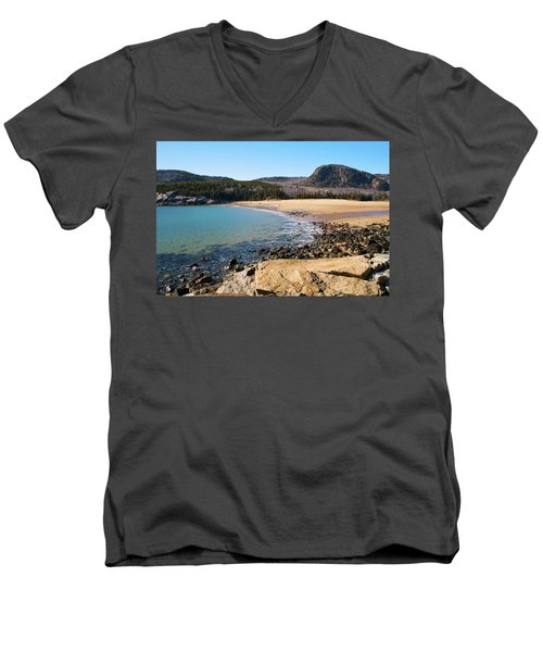 Sand Beach Acadia National Park Men's V-Neck T-Shirt