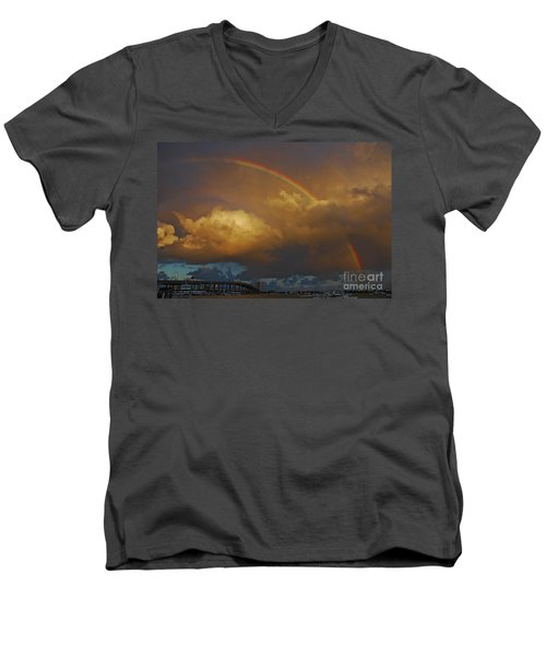 Men's V-Neck T-Shirt featuring the photograph 2- Singer Island Stormbow by Rainbows