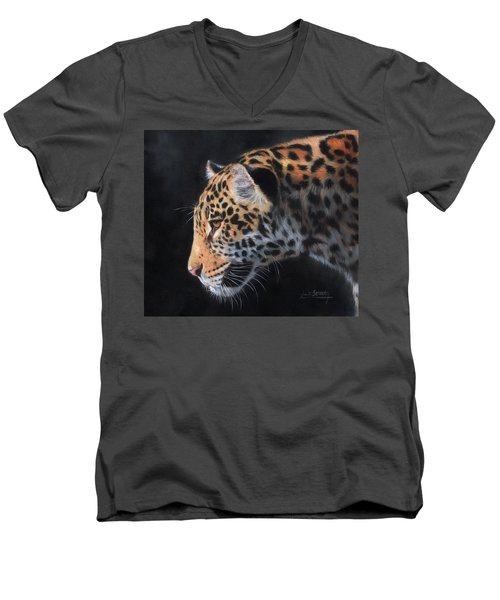 Men's V-Neck T-Shirt featuring the painting South American Jaguar by David Stribbling
