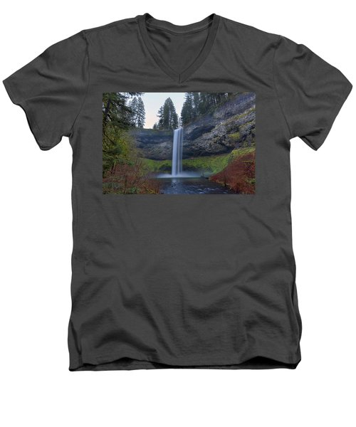 South Falls At Silver Falls State Park Men's V-Neck T-Shirt
