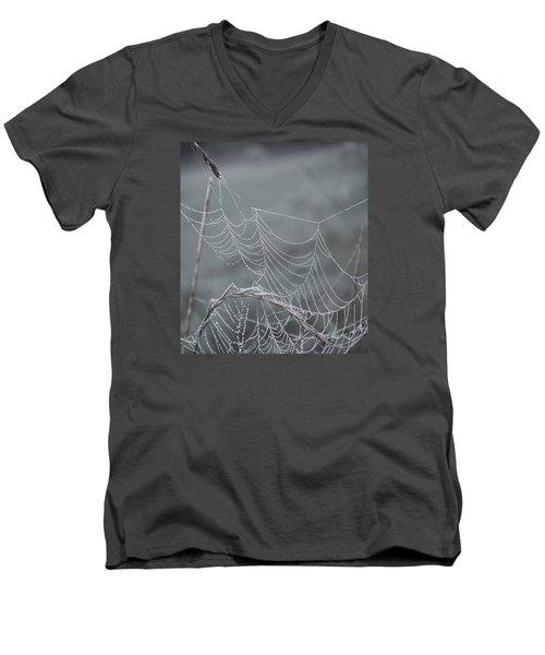 Spiderweb Droplets Men's V-Neck T-Shirt by Nikki McInnes