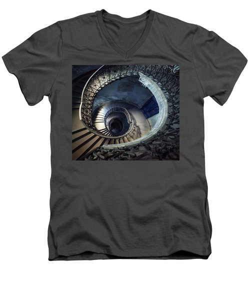 Men's V-Neck T-Shirt featuring the photograph Spiral Staircase With Ornamented Handrail by Jaroslaw Blaminsky
