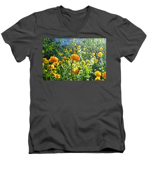 Spring Flowers In The Rain Men's V-Neck T-Shirt by Tamara Sushko