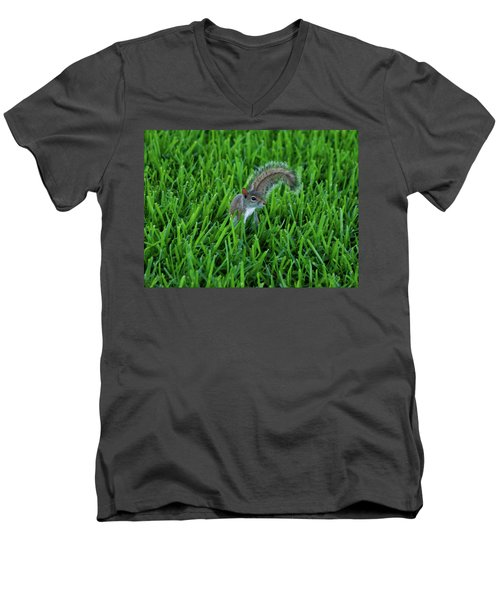 Men's V-Neck T-Shirt featuring the photograph 2- Squirrel by Joseph Keane