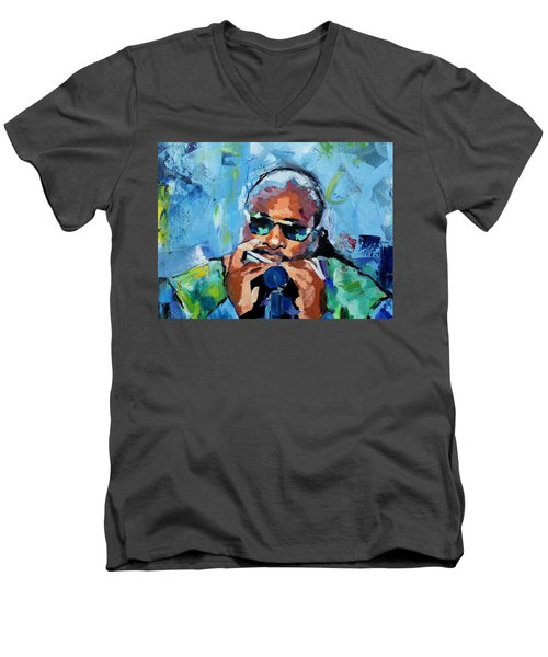 Men's V-Neck T-Shirt featuring the painting Stevie Wonder by Richard Day