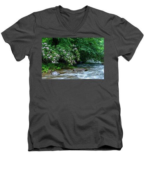 Summer Along Birch River Men's V-Neck T-Shirt
