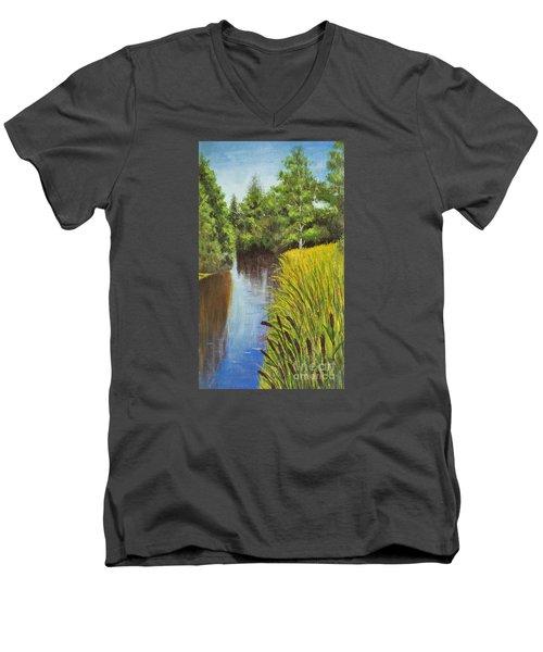 Summer Landscape, Painting Men's V-Neck T-Shirt