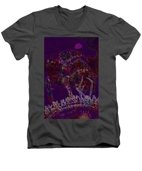 Men's V-Neck T-Shirt featuring the digital art Sun Flower Hummel Insect Summer  by PixBreak Art