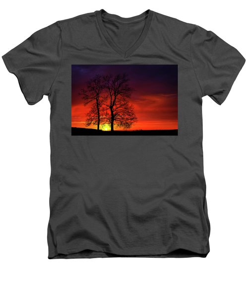 Men's V-Neck T-Shirt featuring the photograph Sunset by Bess Hamiti