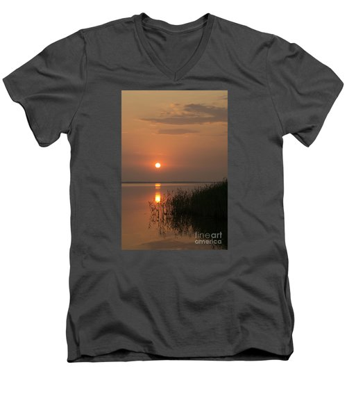 Men's V-Neck T-Shirt featuring the photograph Sunset  by Inge Riis McDonald
