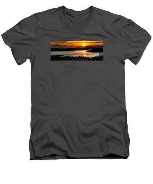 Sunset Over Hail Passage On The Puget Sound Men's V-Neck T-Shirt