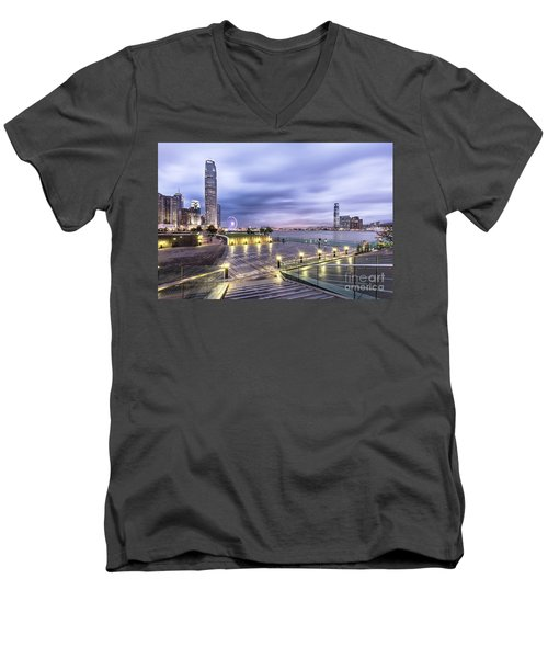 Sunset Over Hong Kong Men's V-Neck T-Shirt