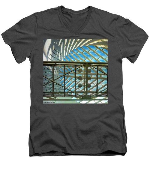 #tbt Museum Of #modern #art San Men's V-Neck T-Shirt by Austin Tuxedo Cat
